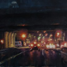 UNDER THE EXPRESSWAY (SOLD) oil on panel 12 x 16