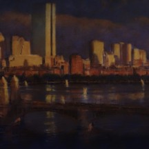 LAST LIGHT (SOLD) oil on canvas 15 x 30